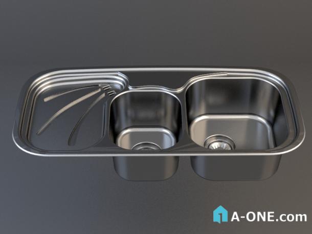 دانلود آبجکت 3d max سینک توکار آشپزخانه با نور و متریال آبجکت ۳D سینک توکار آشپزخانه رام استیل با نور و متریال                   610x457