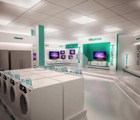 طراحی فروشگاه هایسنس  دکوراسیون داخلی 1 465x400 1