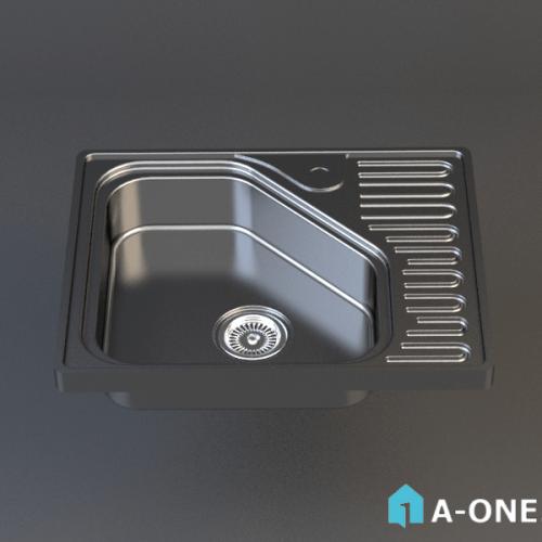 آبجکت ۳D سینک آشپزخانه استیل البرز با نور و متریال