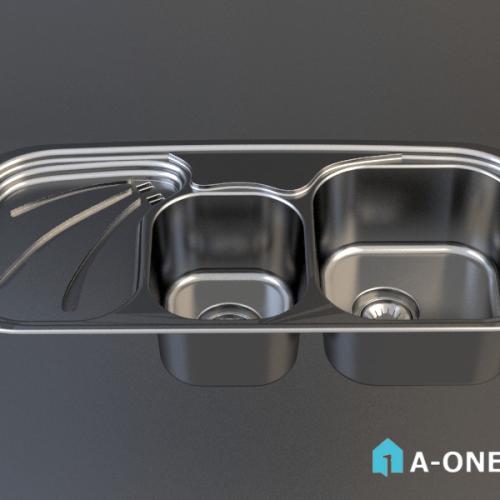 آبجکت ۳D سینک توکار آشپزخانه رام استیل با نور و متریال