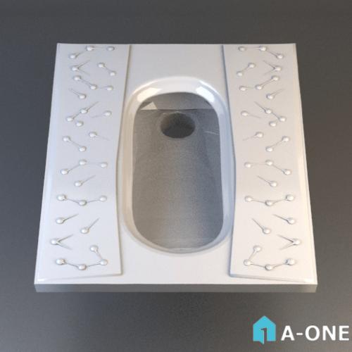 آبجکت توالت ایرانی چینی کرد با نور ومتریال