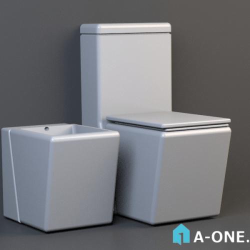 آبجکت ۳D توالت فرنگی با نور و متریال