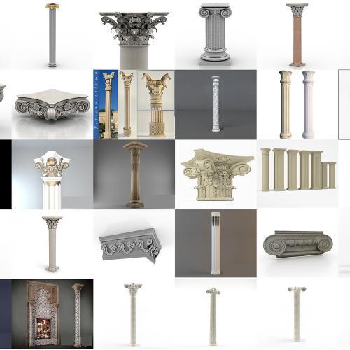 پکیج کامل آبجکت سه بعدی ستون های کلاسیک