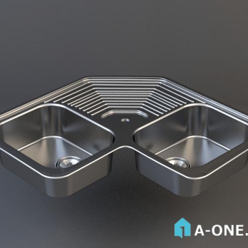 آبجکت ۳D سینک توکار استیل البرز آشپزخانه با نور و متریال